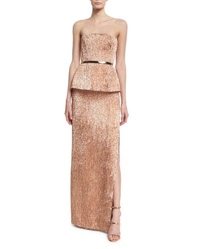 Strapless Plisse Peplum Column Gown, Rose Gold