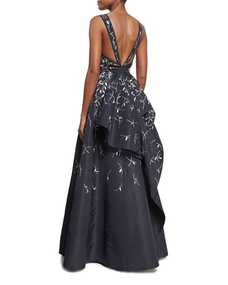 Metallic-Embroidered V-Back Ball Gown, Blue/Silver
