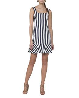 Sleeveless Striped Shift Dress, White Pattern