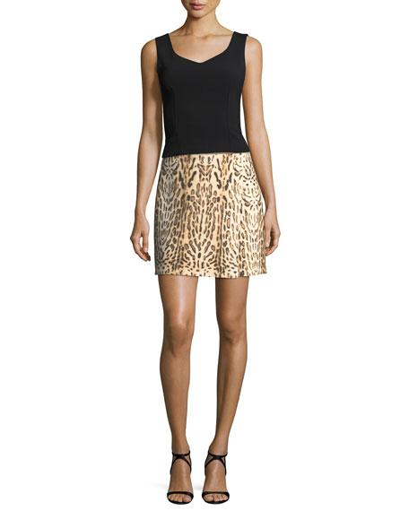 Leopard-Print Mini Wrap Skirt