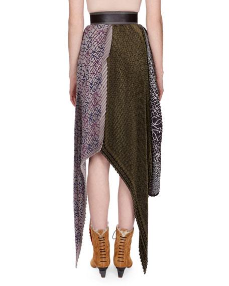Pleated Mixed-Print Midi Skirt w/Logo Belt, Orange Pattern