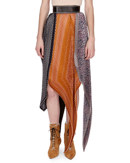 efd63e86fdf Loewe Pleated Mixed-Print Midi Skirt w/Logo Belt, Orange Pattern