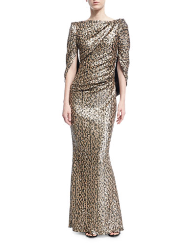Sequined Cape-Back Gown