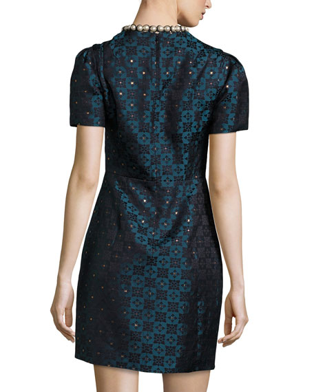 Short-Sleeve Diamond Jacquard Dress, Blue