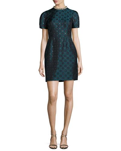 Short-Sleeve Diamond Jacquard Dress, Blue