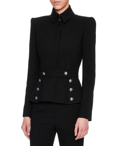 Wool Sailor-Button Jacket, Black