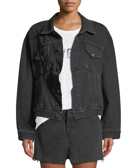 Denim Swing Jacket, Black