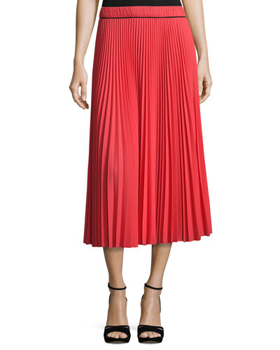 Pleated Crêpe de Chine Midi Skirt, Orange