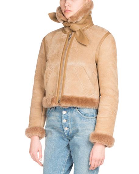 Shearling-Trimmed Bomber Jacket