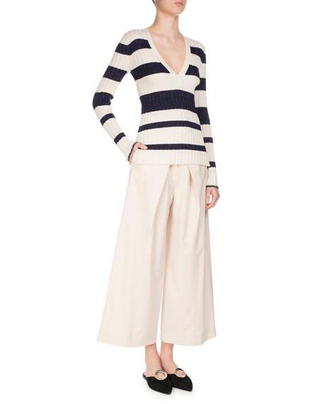 Pleat-Front Wool-Stretch Culottes, Ecru