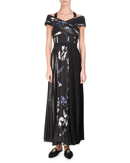 Proenza Schouler Long Pleated Floral-Print Dress, Multi Pattern
