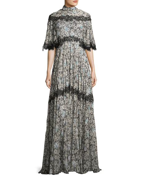 Floral-Print Lace-Trim Tie-Back Gown, Green Pattern