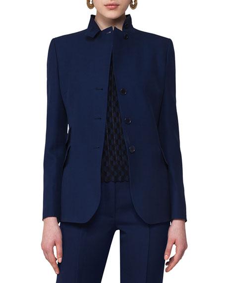Notch-Collar Wool Blazer, Navy