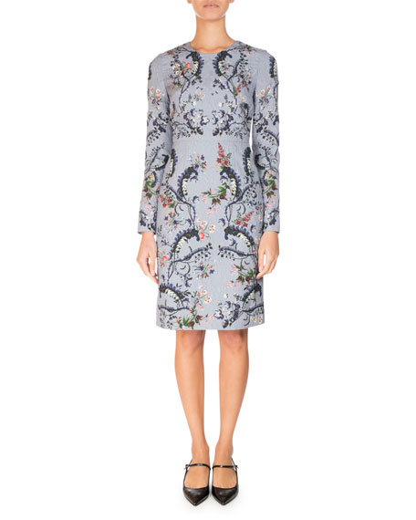 Evita Long-Sleeve Crewneck Dress, Blue/Pink