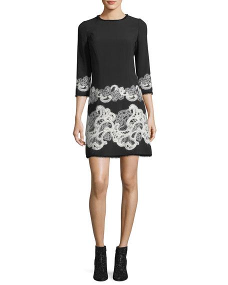 3/4-Sleeve Lace-Trim Dress