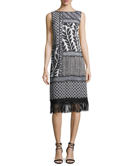 Sleeveless Patchwork Fringe-Hem Dress