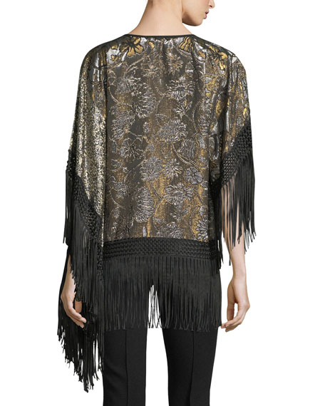 Fringed Lamé Tunic Blouse