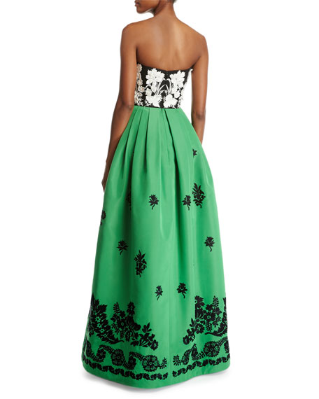 Embroidered Strapless Faille Ball Gown
