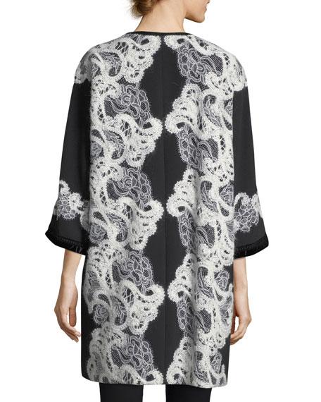 Zip-Front Crepe Lace Coat