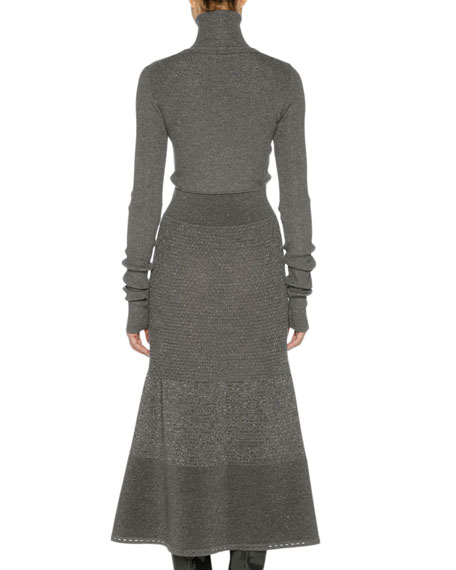 Long-Sleeve Metallic-Knit Sweaterdress, Gray