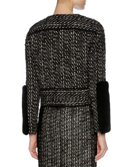 Tweed Biker Jacket w/Mink Fur Trim, Black