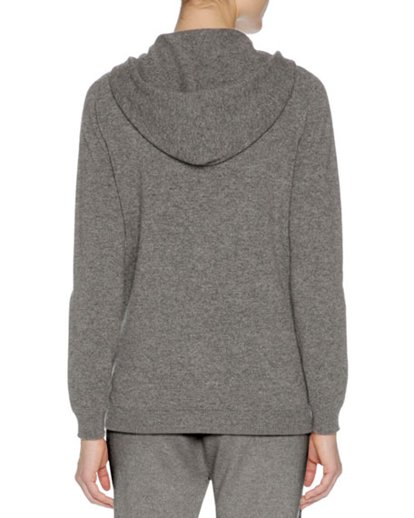 Cashmere Zip-Front Hoodie Sweater, Charcoal