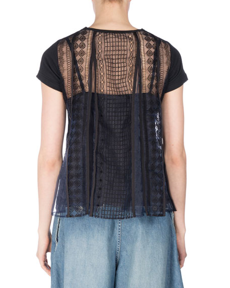 Short-Sleeve Tee w/Cable Lace Back