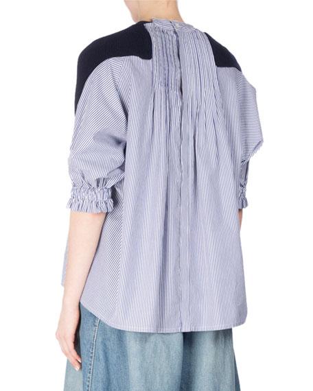 Ribbed Knit Sweater w/Poplin Back