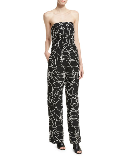Strapless Graphic Jacquard Jumpsuit