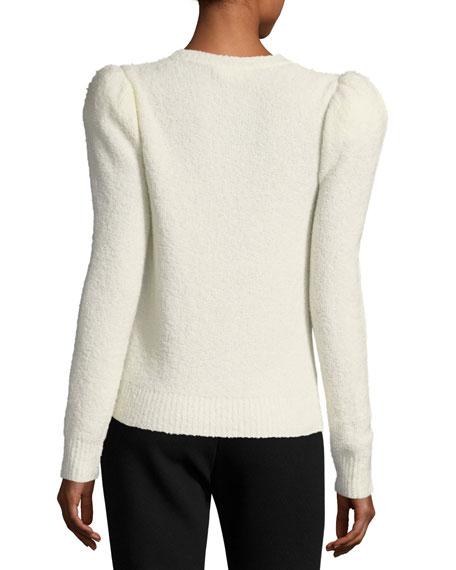 Cashmere-Blend Strong-Shoulder Sweater