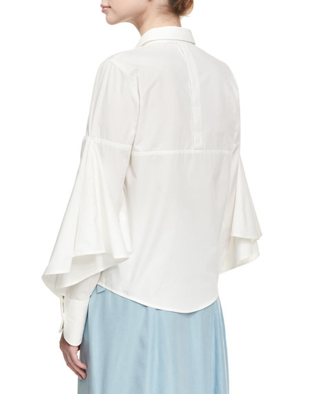 Puff-Sleeve Poplin Blouse, White