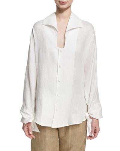 Linen Tie-Cuff Blouse, White
