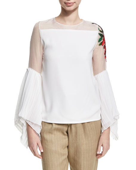 Embroidered Sheer Chiffon Top, White