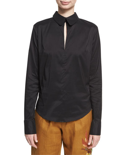 Backless Sateen Blouse, Black