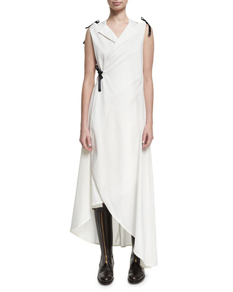 Chufy Sleeveless Cotton Tuxedo Midi Dress, White