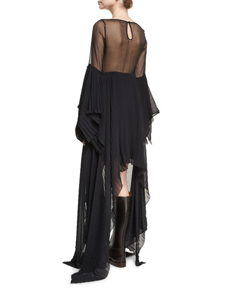 Asymmetric Pleated Chiffon Dress, Black