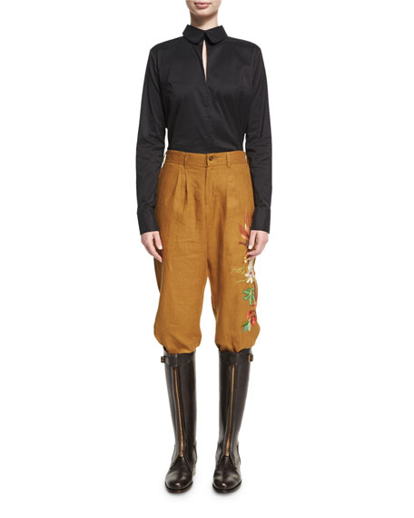 Embroidered Linen Carpenter Pants, Mustard