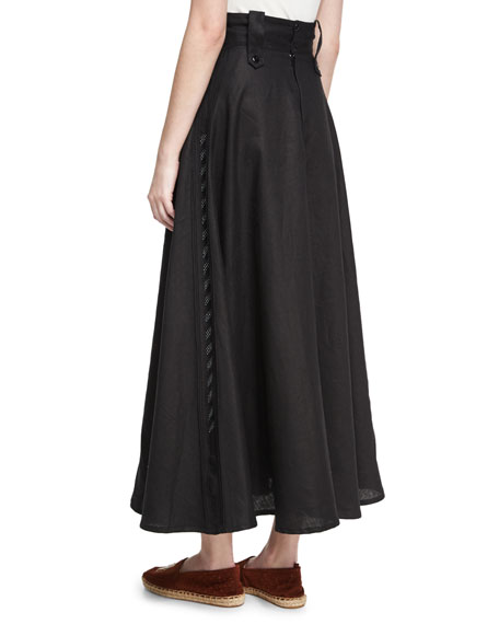 High-Waist Linen Midi Skirt, Black