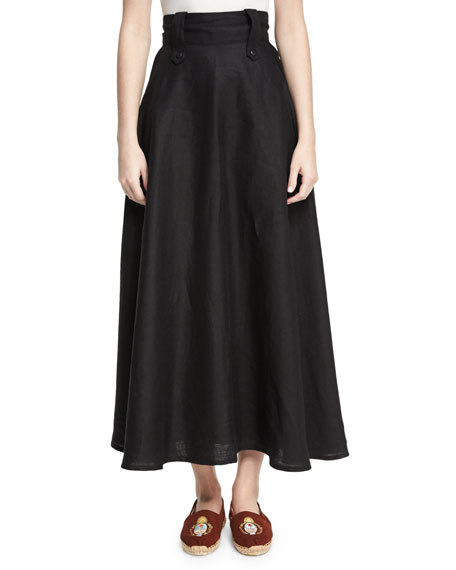 Chufy High-Waist Linen Midi Skirt, Black