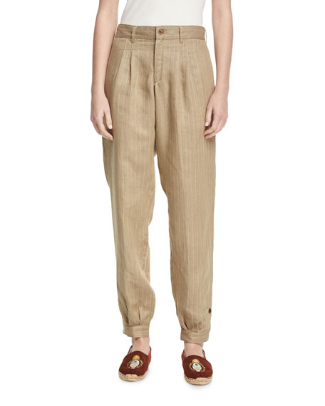 Pinstriped Linen Carpenter Pants, Brown/White