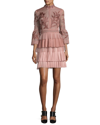 Embroidered 3/4-Bell Sleeve  Cocktail Dress, Pink