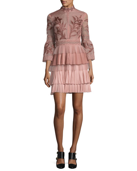 J. Mendel Embroidered 3/4-Bell Sleeve Cocktail Dress, Pink