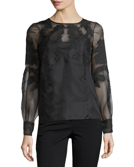 Sheer Floral-Embroidered Blouse, Black