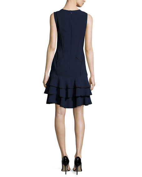 Sleeveless Tiered Silk Crepe Dress, Blue