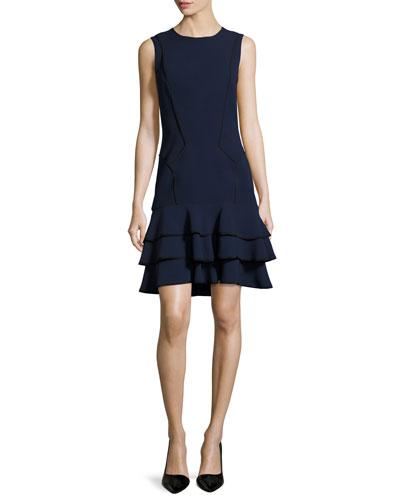 Sleeveless Tiered Silk Crepe Dress, Blue