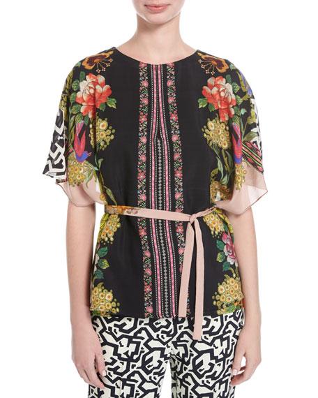 Floral & Geometric-Print Blouse, Pink