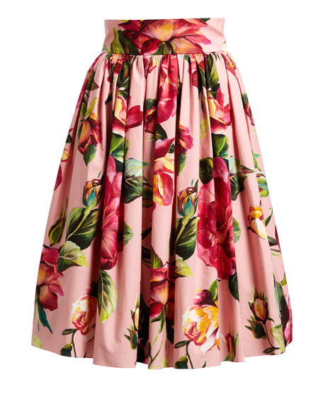 Floral-Print Full Cotton Skirt, Pink