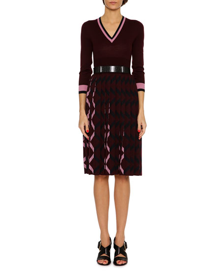 3/4-Sleeve Pleated-Skirt Wool V-Neck Dress, Multicolor