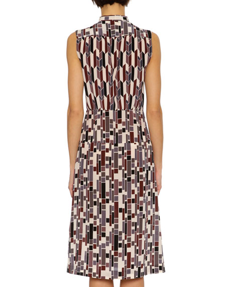 Sleeveless Chevron-Print Tie-Neck Dress, Multi