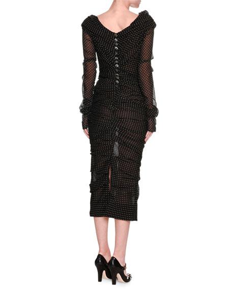 Ruched Polka-Dot Stretch-Chiffon Off-the-Shoulder Dress, Black/White